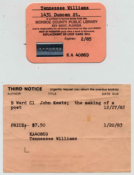 Tennessee Williams's library card