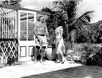 Hemingway laughing with Pauline in Key West