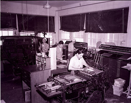 The printing office at the United States Naval Station, Key West.