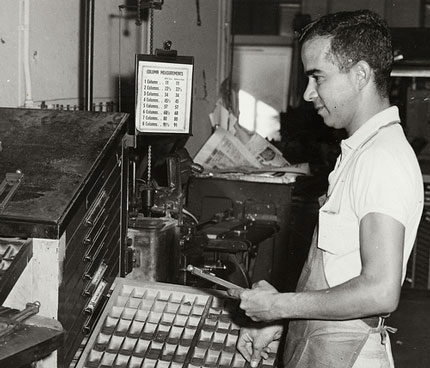 A linotype worker at the Key West Citizen, circa 1960.