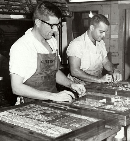 Linotype workers at the Key West Citizen, circa 1960.