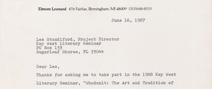 Elmore Leonard letter to Les Standiford 1987