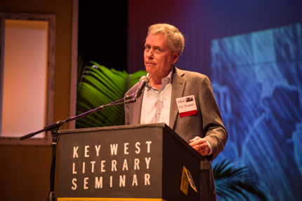"Carl Hiaasen delivers ""The Florida Freak Show"" at the John Malcolm Brinnin Memorial Event. Photo by Nick Doll."
