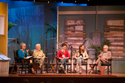 Mary Morris, Thomas H. Cook, Elizabeth George, Sara Gran and John Banville. Photo by Nick Doll.