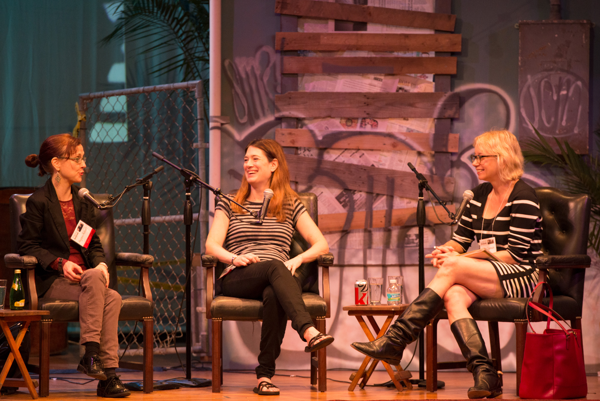 """Megan Abbott, Gillian Flynn, and Laura Lippman during their 2014 Key West Literary Seminar panel: """"Fatal Vision: The Imprint of True-Crime Movies."""" Photo by Nick Doll."""
