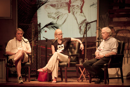 Once We Were Journalists: Truth & Fiction. John Katzenbach, Laura Lippman, and John Sandford. Photo by Ian Rowan.
